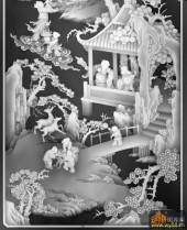 八仙图-怡然自乐-915-八仙浮雕灰度图