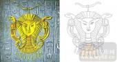 艺术玻璃图-肌理雕刻系列1-埃及法老-00131