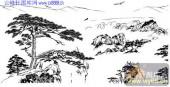 2010.4.3迎客松-白描图-顶风傲雪-yks021-迎客松线描图