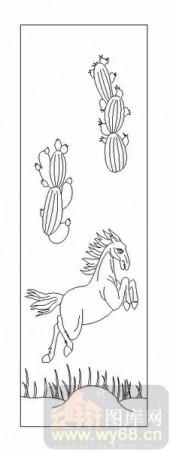 03动物系列-汗马之功-00093-雕刻玻璃图案