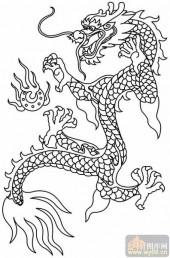 龙-白描图-龙戏珠-long40-白描龙图