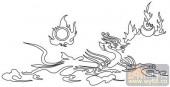 龙-白描图-火云龙-long12-白描龙画