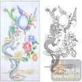 22传统花鸟鱼(1)-龙凤呈祥-00113-艺术玻璃图