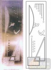 艺术玻璃图库-浮雕贴片-小鸟-00003