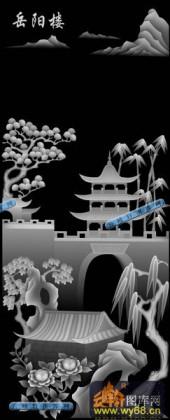 01-岳阳楼-006-玉雕灰度图案