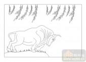 03动物系列-柳下牛-00032-喷砂玻璃图库