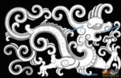 草龙-蟠龙-005-龙凤浮雕灰度图
