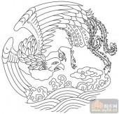 凤-白描图-凤舞九天-huangf039-传统凤图案
