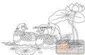 100个中国传统吉祥图-矢量图-鸳鸯戏水-B-021-路径图