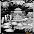 房屋 山水 树-灰度雕刻图
