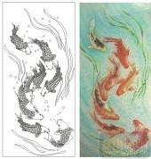 2011设计艺术玻璃刻绘-九鱼图-装饰玻璃