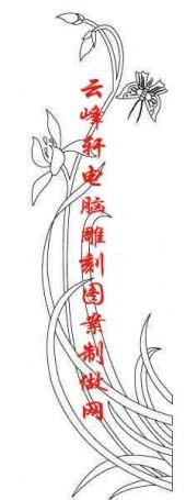 梅兰竹菊-白描图-兰花 蝴蝶-mlxj048-梅兰竹菊雕刻图片