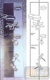 装饰玻璃-浮雕贴片-蜻蜓荷花-00030