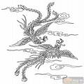 凤-白描图-鸾凤分飞-huangf004-白描凤图