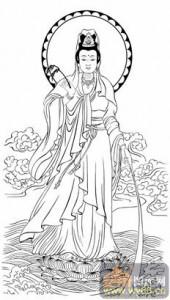 观音-白描图-54净水观音-4-观音菩萨雕刻图案