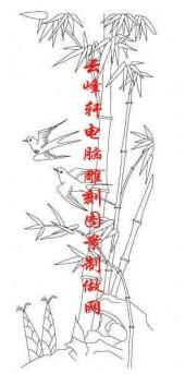 梅兰竹菊-白描图-竹子 鸟-mlxj054-梅兰竹菊雕刻图案
