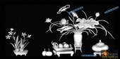 03-荷花-051-花鸟灰度图