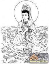 观音-白描图-37观世音菩萨圣像-观音菩萨雕刻图片