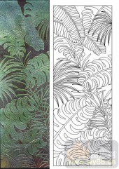 05肌理雕刻系列样图-绿叶-00171-艺术玻璃图库