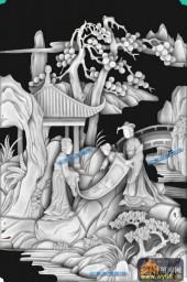 琴棋书画景多-美女书画-画-琴棋书画灰度图案