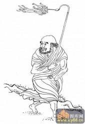 18罗汉3-白描图-罗汉3-罗汉雕刻图案