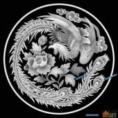 凤凰图-凤凰-001-龙凤浮雕灰度图