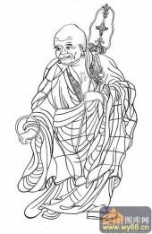 18罗汉3-白描图-罗汉6-罗汉国画白描