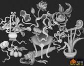 八宝017-月季花-花4-浮雕灰度图