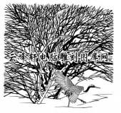 白描仙鹤-矢量图-大树仙鹤-6-仙鹤国画矢量