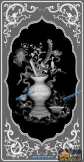 04-花瓶-025-花鸟浮雕灰度图