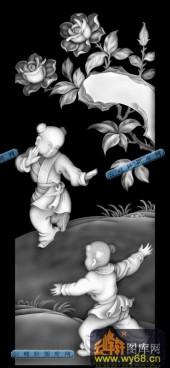 百子图001-童戏-e_2-百子图浮雕灰度图