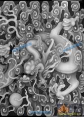 02-龙戏-011-龙凤灰度图案