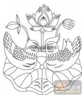 100个中国传统吉祥图-矢量图-鸳鸯荷花-B-035-传统图案
