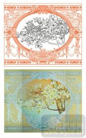 2011设计艺术玻璃刻绘-玉兰花-装饰玻璃
