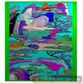 屏风山水人物-浮雕图库