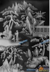 多宝格八仙-吹箫-008-多宝格八仙灰度图案