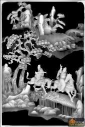 八仙图-八仙柜面021-暗八仙浮雕灰度图