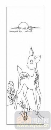 03动物系列-梅花鹿-00057-玻璃门