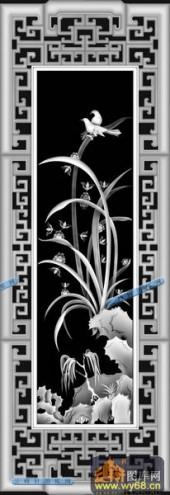 01-兰草-084-花鸟精雕灰度图