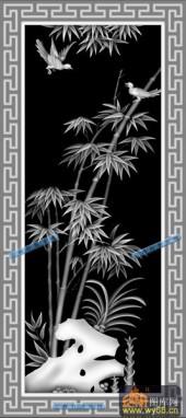 04-竹-028-花鸟精雕灰度图