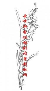 梅兰竹菊-矢量图-兰草-mlxj162-国画梅兰竹菊