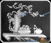 古董架002-腊梅-011-古董架浮雕灰度图