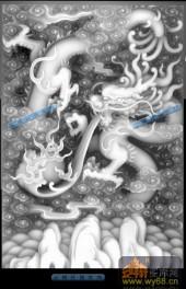 02-龙纹-021-龙凤浮雕灰度图