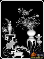 八宝009-桃花-桃花-雕刻灰度图