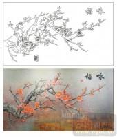 2011设计艺术玻璃刻绘-咏梅-装饰玻璃