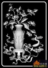 八宝009-秋菊-菊花-雕刻灰度图