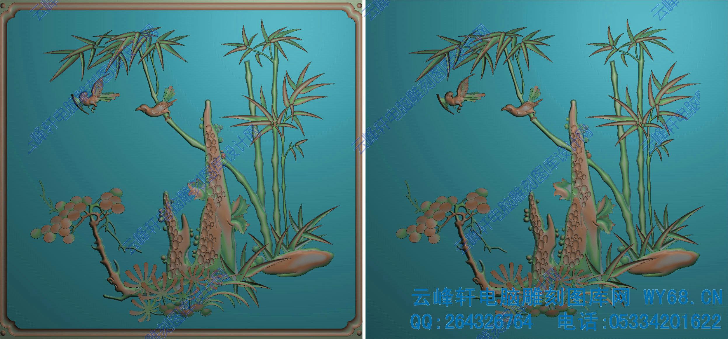 木雕竹子绘画图片