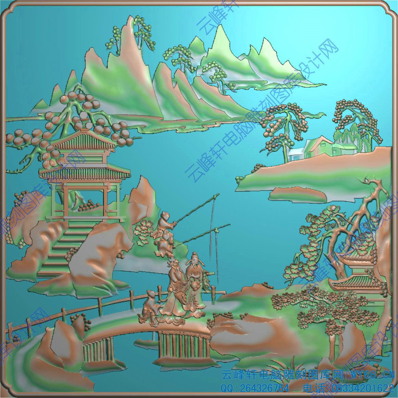 电脑雕刻精雕图系列 全套床-精雕图-实木家具浮雕图-红木家具雕刻图
