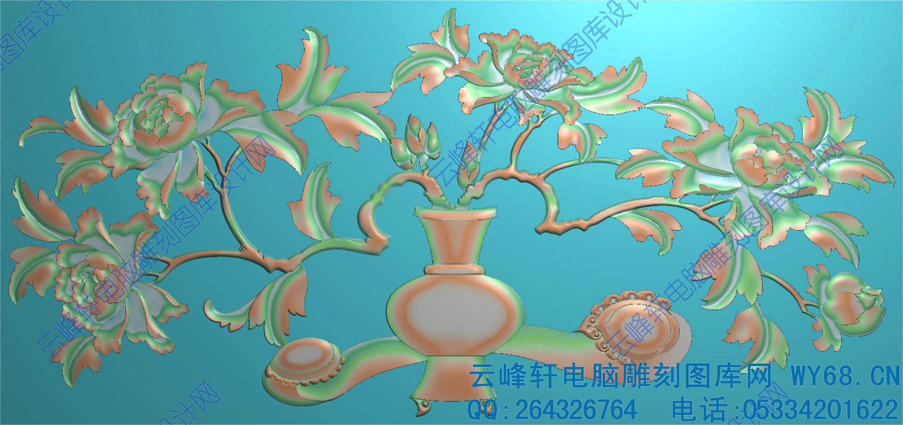 牡丹花瓶大床 - 云峰轩雕刻图库网